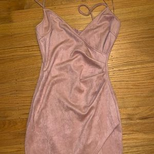 Windsor Baby Pink suede wrap sexy dress NWT